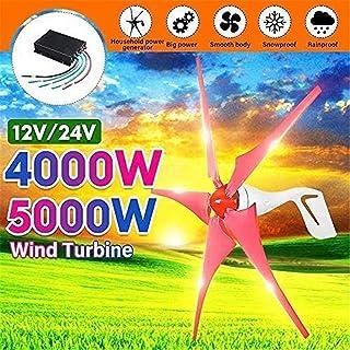 RDJM Turbina eólica generador de Viento, 4000W / 5000W generador de Viento 5 del Viento láminas del generador 12 24V Horizontal turbinas de Viento for hogar Farola Controlador de Carga / +