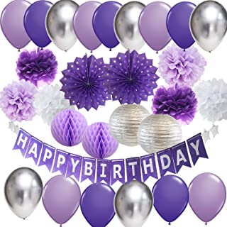 Purple Silver Birthday Party Decorations Happy Birthday Banner Purple Silver Latex Balloons Polka Dot Paper Fans for Women/Girl Purple Birthday Decorations Photo Backdrop