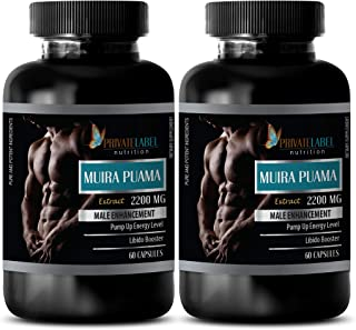Male Enhancing Pills Increase Size - Muira PUAMA Extract 2200Mg - Male Enhancement - Natural Brain Booster - 2 Bottles