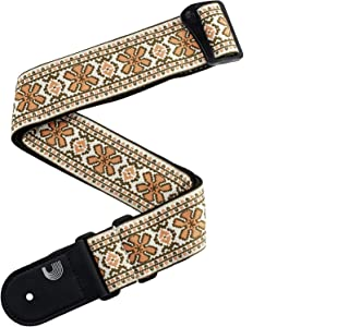 D'Addario Accessories Woven Guitar Strap, Peace Love, Pink and Brown (50PCLV02)