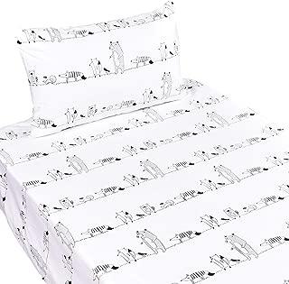 J-pinno Forest Animal Party Fox Hedgehog Bear Twin Sheet Set for Kids Boy Children,100% Cotton, Flat Sheet + Fitted Sheet + Pillowcase Bedding Set