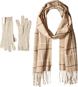 Plaid Woven Scarf and Gloves Two-Piece Set