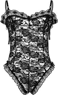 Freebily Men's One Piece Bodysuit Floral Lace Sissy Nightwear Lingerie Leotard Thongs