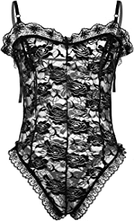 Sexy Men's Sheer Mesh Sissy Lingerie Floral Lace Bodysuit Thong Leotard Nightwear