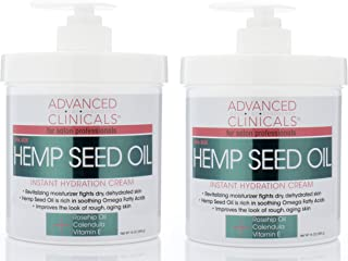 Advanced Clinicals Hemp Seed Lotion. Hemp seed oil cream for dry, rough skin with Rosehip Oil, and Vitamin E. Large spa size 16oz cream with pump. (Two - 16oz)