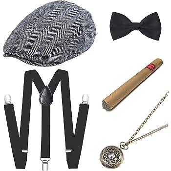 ArtiDeco 1920s Gatsby - Juego de accesorios para hombre (sombrero ...