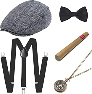 ArtiDeco 1920s Men's Accessories Mafia Gatsby Costume Set Including Panama Gangster Hat Adjustable Elastic Braces Men's Neck Bow Tie Pocket Watch and Plastic Cigar