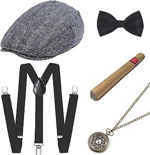 BABEYOND 1920s Mens Gatsby Gangster Costume Accessories Set 30s Manhattan Fedora Hat Suspenders