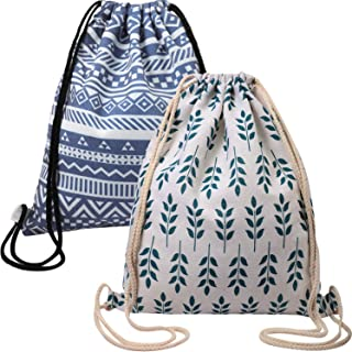 2 Pieces Canvas Drawstring Backpack for Women Gym Sack Canvas Drawstring Bag Lightweight for Sports Travel