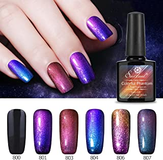 6 Pcs Soak Off Gel Nail Polish Set, Saviland Phantom Chameleon Gel Glitter Sparkly Polish UV LED Nail Art Kit 10ml