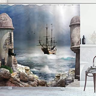 Ambesonne Sailboat Shower Curtain, Pirate Merchant Shipnchored in The Bay of Fortbandoned Rockst Shore, Cloth Fabric Bathroom Decor Set with Hooks, 70