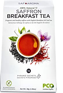 Safaroma Saffron Breakfast Tea   Certified Organic Full-Leaf Black Tea Mixed with Premium Saffron Threads   Ethically Sourced, Freshly Harvested   15 Natural Transparent Pyramid Sachets