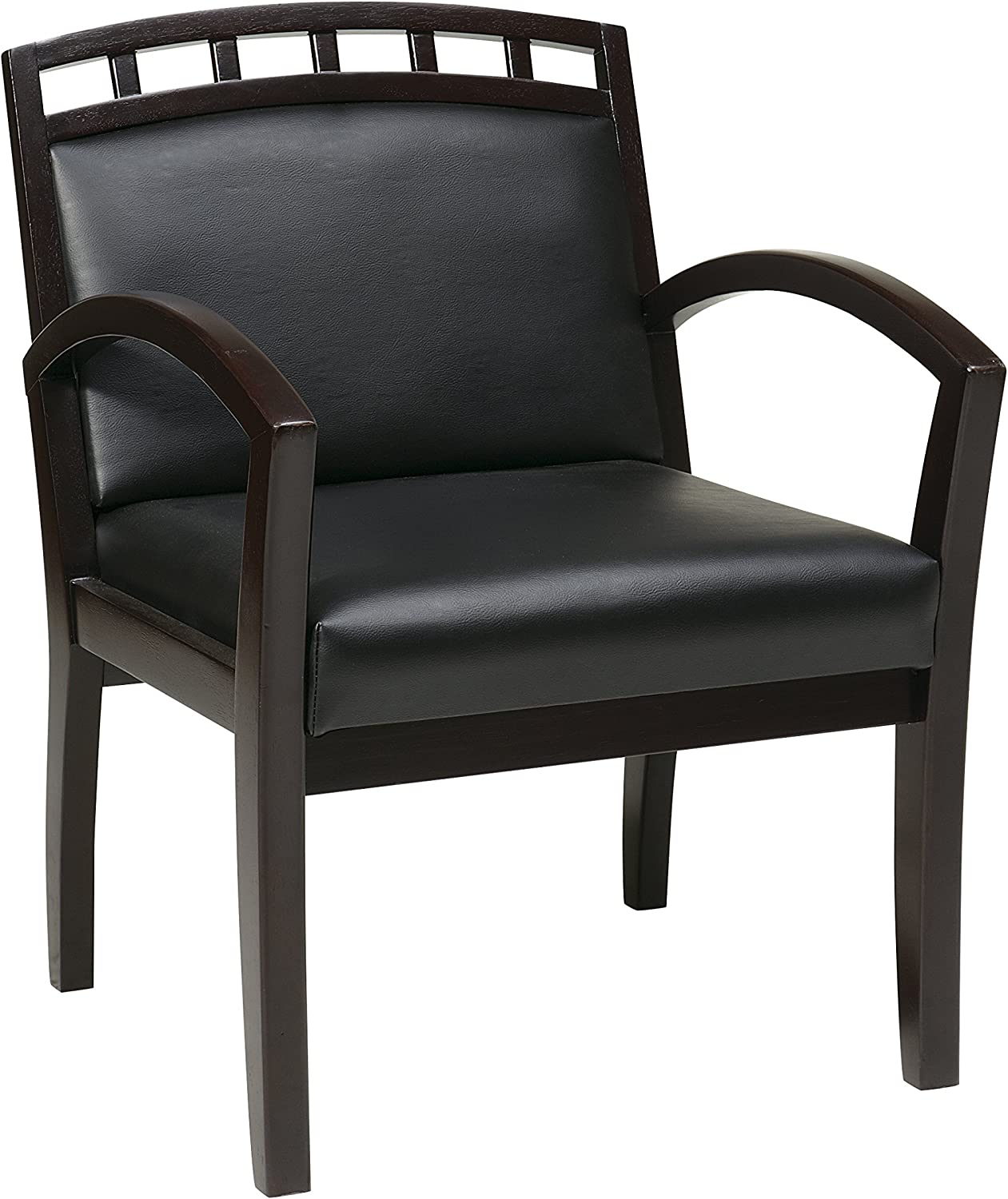 WorkSmart Office Star Deluxe Wood Crown Back Chair with Espresso Finish Base and Legs, Black Faux Leather