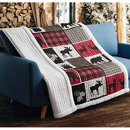 PRINTED QUILTED FARMHOUSE COUNTRY THROW LAP QUILT ~ LIGHT BLACK BEAR