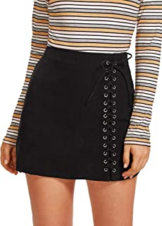 Women's Casual Grommet Lace Up A-Line Bodycon Mini Skirt