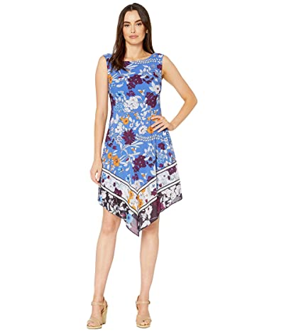 Adrianna Papell Botanical Border Printed Fit and Flare Dress with Handkerchief Hem (Peri Multi) Women