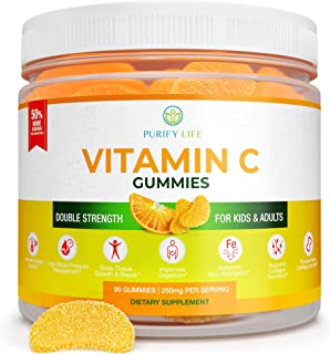 Vitamin C Gummies for Adults & Kids (Bulk 90 Gummies) Double Strength Immune Support - Chewable, Vegan, Gelatin Free, Glut...