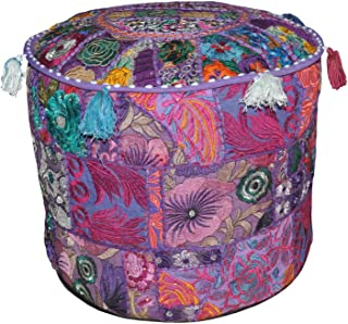 Rajasthali Indian Pouf Stool Vintage Patchwork Embellished Patchwork Living Room Ottoman Cover, 18 X 13 Inches