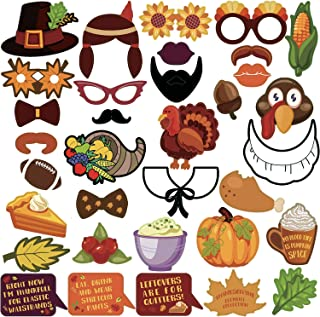 KatchOn Thanksgiving Photo Booth Props 34 DIY Kits Thanksgiving Day Decorations,Happy Thanksgiving Party Favor, Element of Pumpkin Turkey Bread Corn Fruits Maple Leaves for Autumn Party Fall Party