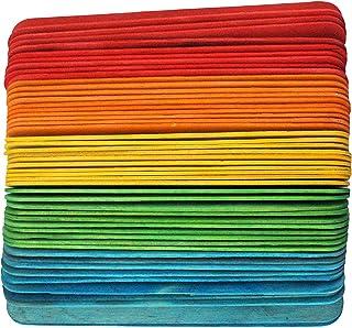 50 Pieces Wooden Craft Lollipop Sticks Lolly Craft Sticks Colours Mixed