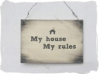 "Targa in legno personalizzata"" MY HOUSE MY RULES"""