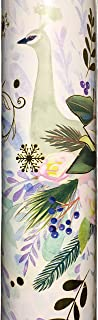 Punch Studio Continuous Metallic Holiday Gift Wrap Paper Roll, Blue Winter Peacock 62586