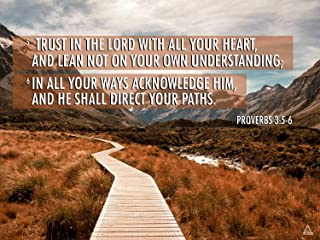 777 Tri-Seven Entertainment Proverbs 3:5-6 Poster Trust in The Lord Bible Verse Quote Wall Art (24x18)