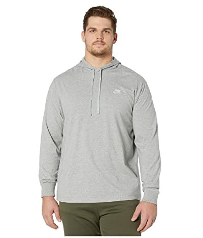 Nike Big Tall NSW Club Hoodie Pullover Jersey (Dark Grey Heather/White) Men