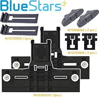 Ultra Durable W10350376 & W10195839 & W10195840 & W10508950 Dishwasher Rack Adjuster Kit Replacement Part by Blue Stars – Exact Fit For Whirlpool & Kenmore Dishwashers - PACK OF 2