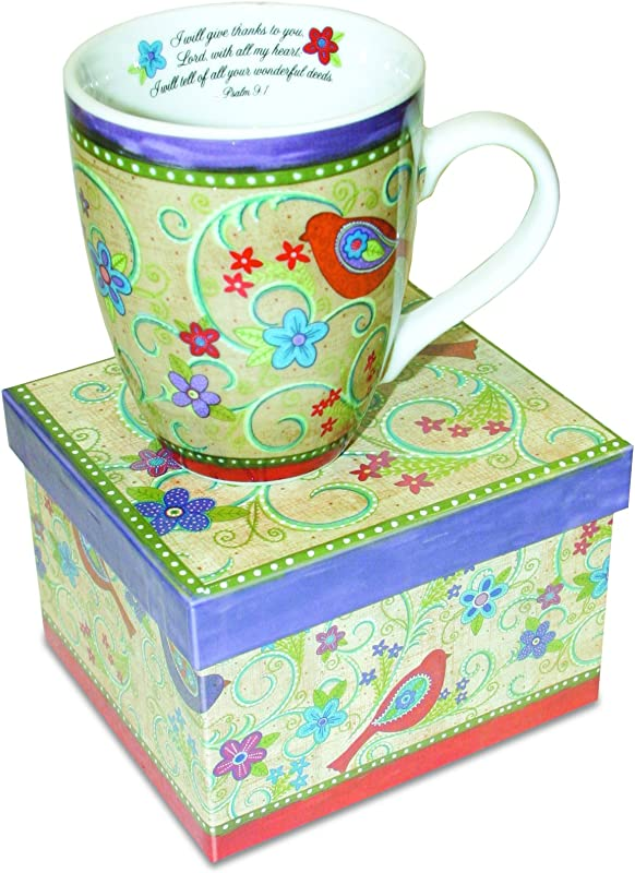 Divinity Boutique Inspirational Ceramic Mug Gypsy Chicks Psalm 9 1 I Will Give Thanks To You Multicolor