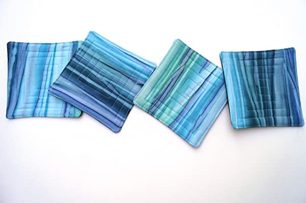 Batik Quilted Fabric Coasters Set In Shades Of Blue