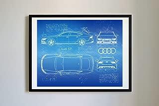 DolanPaperCo #309 Audi S7 Sportback 2015 Art Print, da Vinci Sketch - Unframed - Multiple Size/Color Options (17x22, Blueprint)