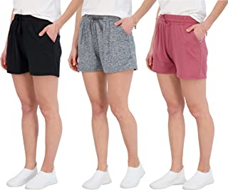 3 Pack: Athletic Lounge Shorts for Women - Jogging Workout Yoga Sweat Shorts with Pockets and Drawstring
