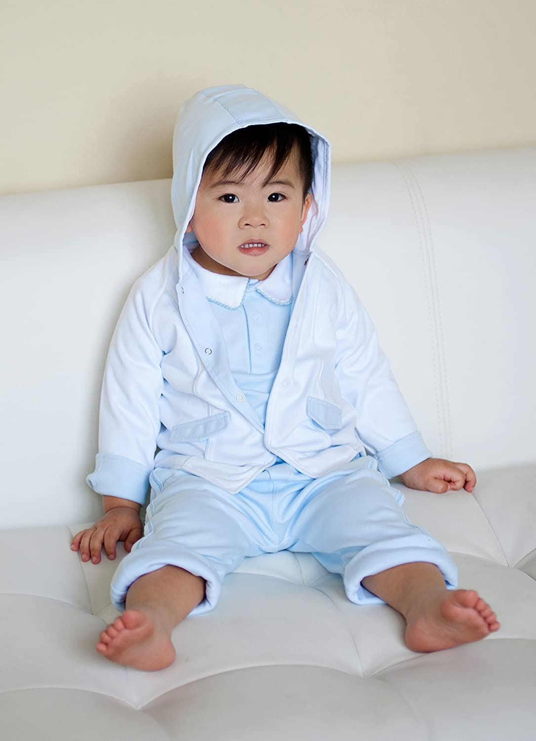 Baby Boys 100/% Pima Cotton Jacket White Double Layer Hooded Top Blue Contrasts