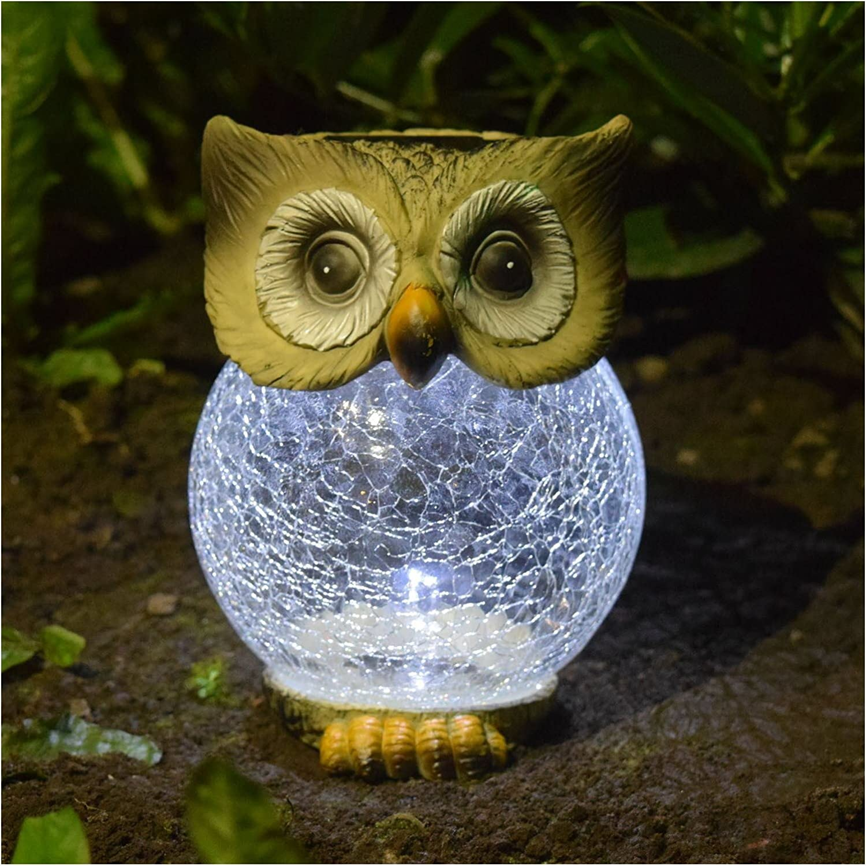 Outdoor Garten Solar Powerot Neuheit Eule Ornament mit Crackle Ball LED-Licht.