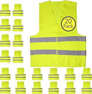 Pack of 20 Bright Construction Vests Yellow Safety Reflector Vests bulk, with Visibility Strip, Perfect for Warehouses, Traffic and Parking Patrol by Upper Midland Products