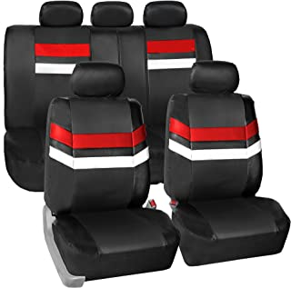 FH Group Leather Full Set Seat Covers Red Airbag Safe PU006RED115 & Split Bench Ready
