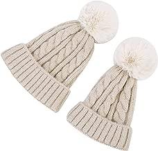 MXKJ-STORE Women Winter Knitted Hat with Faux Fur Pom Pom Cap for Toddler Boys Girls Kids Beanie Hat …