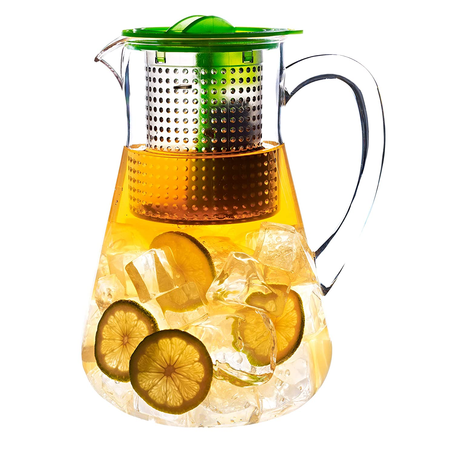 Finum Hot or Cold Loose-Leaf Iced Tea Control Pitcher, 1.8 Liters (61 Ounce), Apple Green