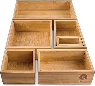 TAKE® Système de rangement de 6 tiroirs en bambou 100 % naturel Tailles, idéal comme organiseur de maquillage, boîte de ra...