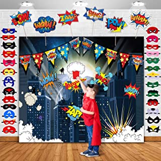 TMCCE Superhero Cityscape Photography Backdrop and Superhero Party Backdrop Supplies,27 Superhero Masks 6 Superhero Photo Booth Props for Superhero Birthday Party Decorations for Kids