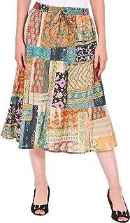 COTTON BREEZE Women's Rayon A-line Skirt (FP561, Multicolour, Free Size)