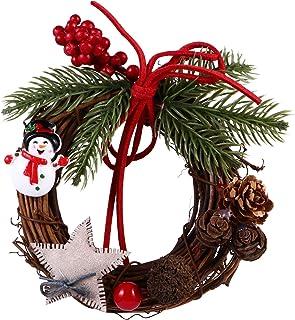 Amosfun ミニクリスマスリースクリスマスキャンドルリング花輪の松ぼっくりと赤い果実つる枝リースガーランド柱キャンドルクリスマステーブルセンターピース装飾スタイル3
