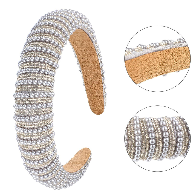 3 Pieces Rhinestone Padded Headband Crystal Rhinestone Wide Headband Padded Glitter Hairband Wide Hair Hoops Wedding Headwear Ac