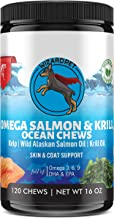 Wild Alaskan Salmon & Krill Oil Chews for Dogs | 120 Soft Treats | Omega 3 6 9 Fish Supplement with EPA, DHA for Itch Free...