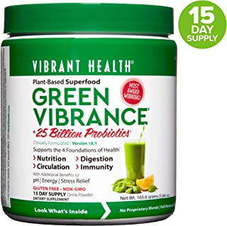 Vibrant Health, Green Vibrance, Plant-Based Superfood Powder, 25 Billion Probiotics Per Scoop, Vegetarian and Gluten Free, 15 Servings (FFP)