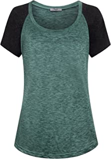 Cestyle Womens Round Neck Raglan Short Sleeve Yoga Shirt Workout Tunics Tops