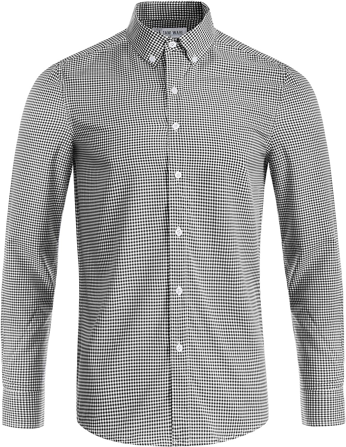 TAM WARE Men's Casual Checkered Long Sleeve Winkle-Free Button Down Dress Shirt