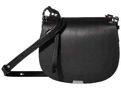 AllSaints Captain Mini Round Crossbody (Black) Handbags