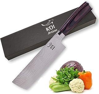 KOI ARTISAN Nakiri Cuchillos de cocina – Cuchillo de cocina tradicional japonés de 7 pulgadas – Acero inoxidable de alto carbono – Cuchillo de chef profesional